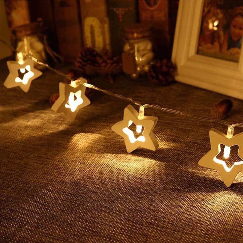Cadena de luces LED ,Guirnalda Luces Exterior, 10LED Blancas de Luz Cálida Cadena de Luces madera estrella de cinco puntas luces de la decoración del día ...