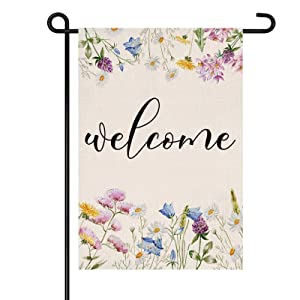 Summer Welcome Garden Flag 12 X 18 Inch, Farmhouse Floral Water Proof Double Sided Yard Flag,Decorative Flag for Home Outdoor Decor