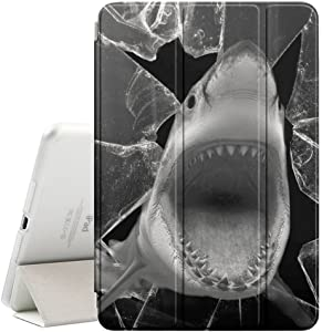 STPlus Black White Shark Attacking Smart Cover With Back Case + Auto Sleep/Wake Funtion + Stand for Apple iPad Air 2