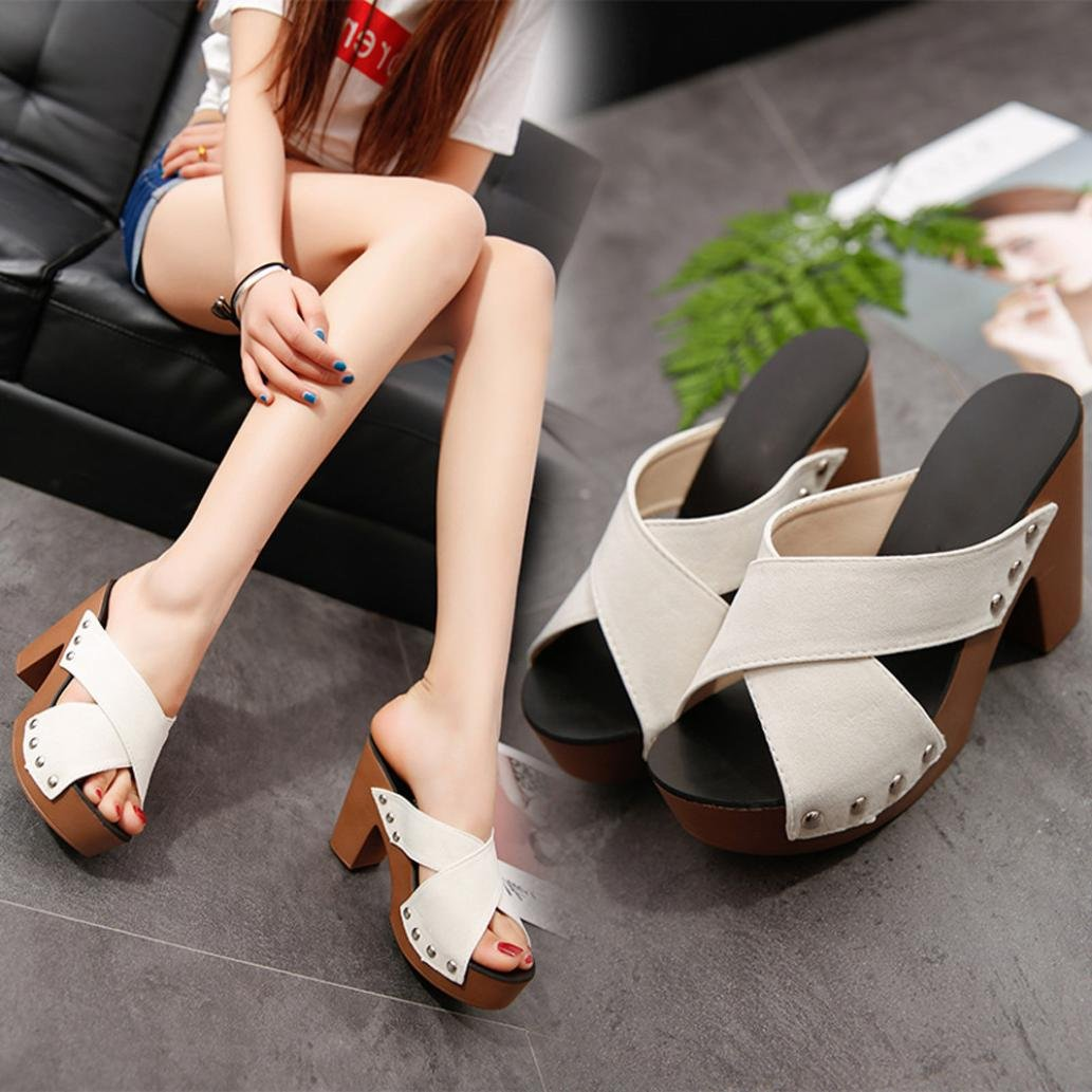 e956effc15a2 Amazon.com  Haoricu High Heel Shoes Women Cross Strap Chunky Heel Wedges  Sandal Thick High-Heeled Flip Flop Open Toe Slipper  Toys   Games