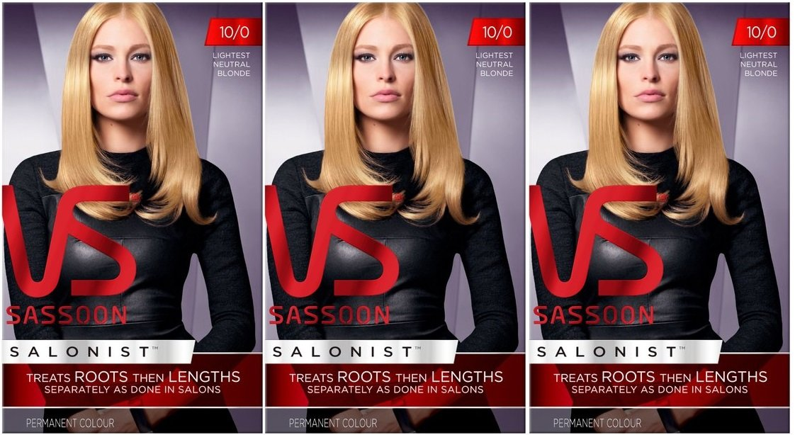 3 x VS Vidal Sassoon Salonist Permanent Hair Colour Dye (10/0 Lightest Neutral Blonde)