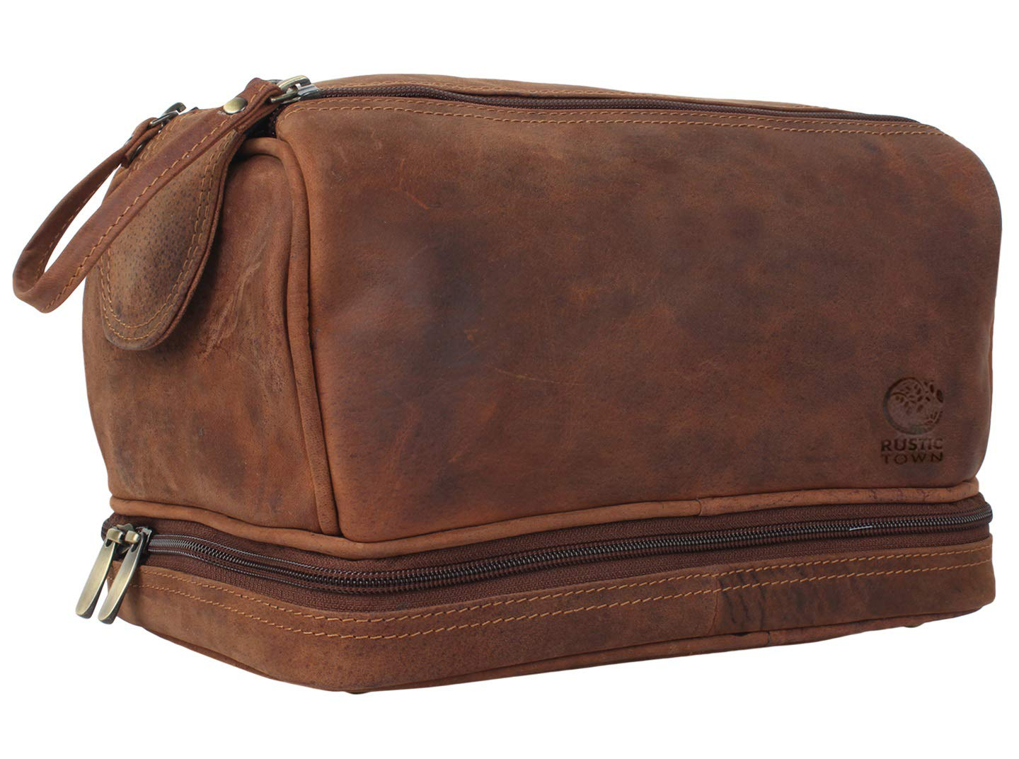 Genuine Leather Travel Toiletry Bag - Dopp Kit Organizer By Rustic Town by Rustic Town