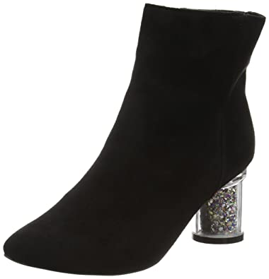 f0378614a47 Boohoo Women s Annie Clear Glitter Heel Ankle Boot (Black)