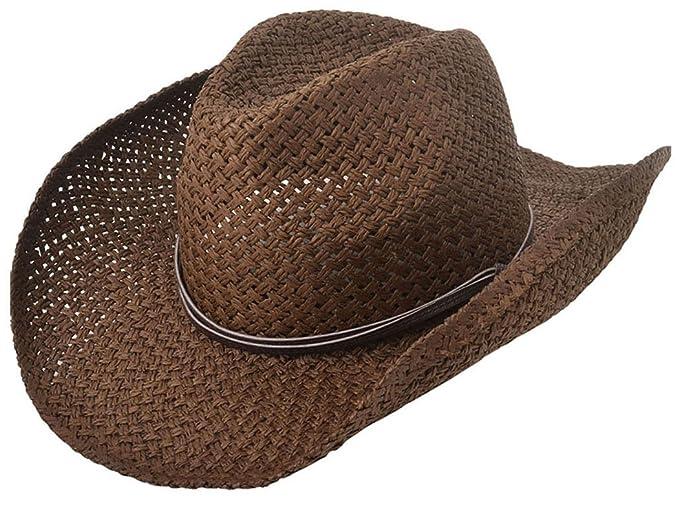 3e2e29e315d5f Lullaby Mens Womens Wide Brim Western Cowboy Structured Straw Sun Hat  Chocolate