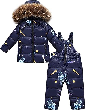 Zoerea 2 Piezas Traje De Nieve Ninos Abrigos Chaqueta Con Capucha Pantalones Nina Nino Ropa De Invierno Set Amazon Es Ropa Y Accesorios