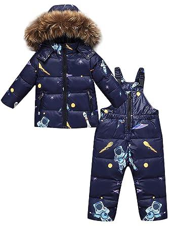 ZOEREA 2 Piezas Traje de Nieve Niños Abrigos Chaqueta con Capucha + Pantalones Niña Niño Ropa de Invierno Set