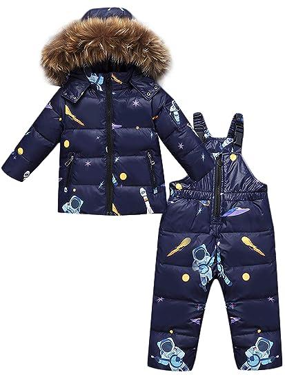 ZOEREA 2 Piezas Traje de Nieve Niños Abrigos Chaqueta con Capucha + Pantalones Niña Niño Ropa de Invierno Set: Amazon.es: Ropa y accesorios