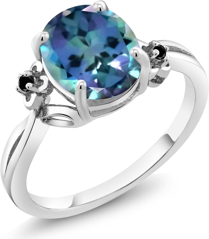 Gem Stone King 4.00 Ct Oval Millennium Blue Mystic Quartz 18K Yellow Gold Plated Silver Ring