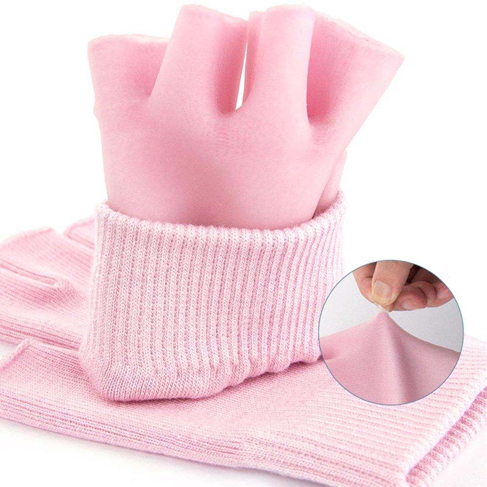 Frcolor Guantes humectantes de algodón medio dedo cura la piel seca y las manos agrietadas Guantes humectantes reutilizables (rosa)