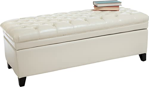 Christopher Knight Home Hastings Tufted Leather Storage Ottoman