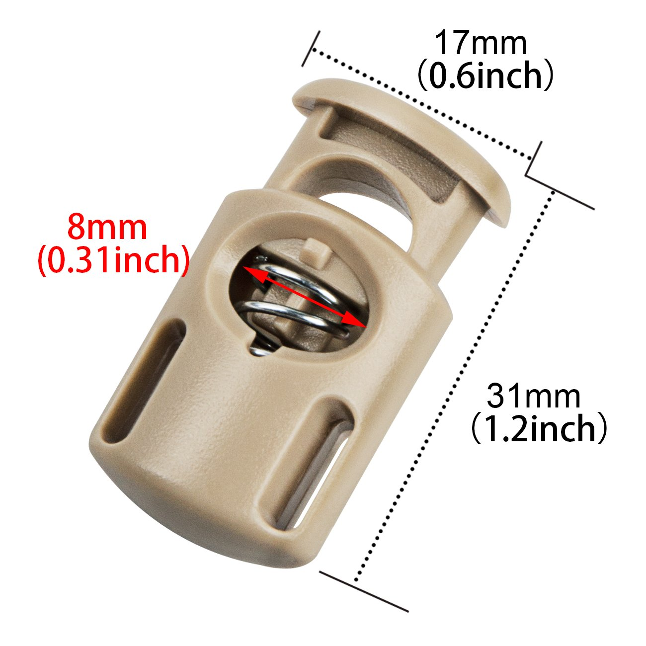Plastic Cord Locks End Spring Stop Toggle Stoppers Multi-Colour 20 PCS, Khaki