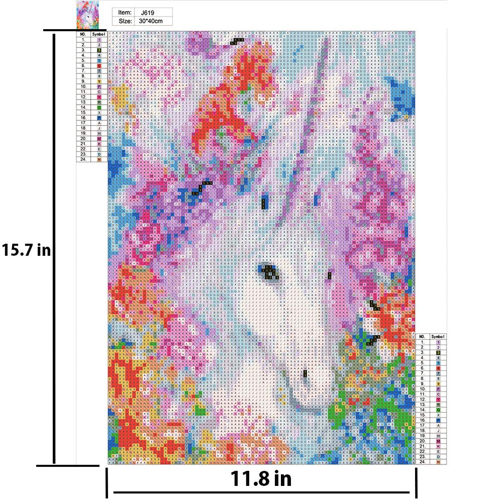 5D DIY Diamond Painting,Full Drill Unicorn Cross Stitch Kits for Adults Rhinestone Arts Craft Canvas Wall Decor No Frame(11.8 x 15.8 inch)