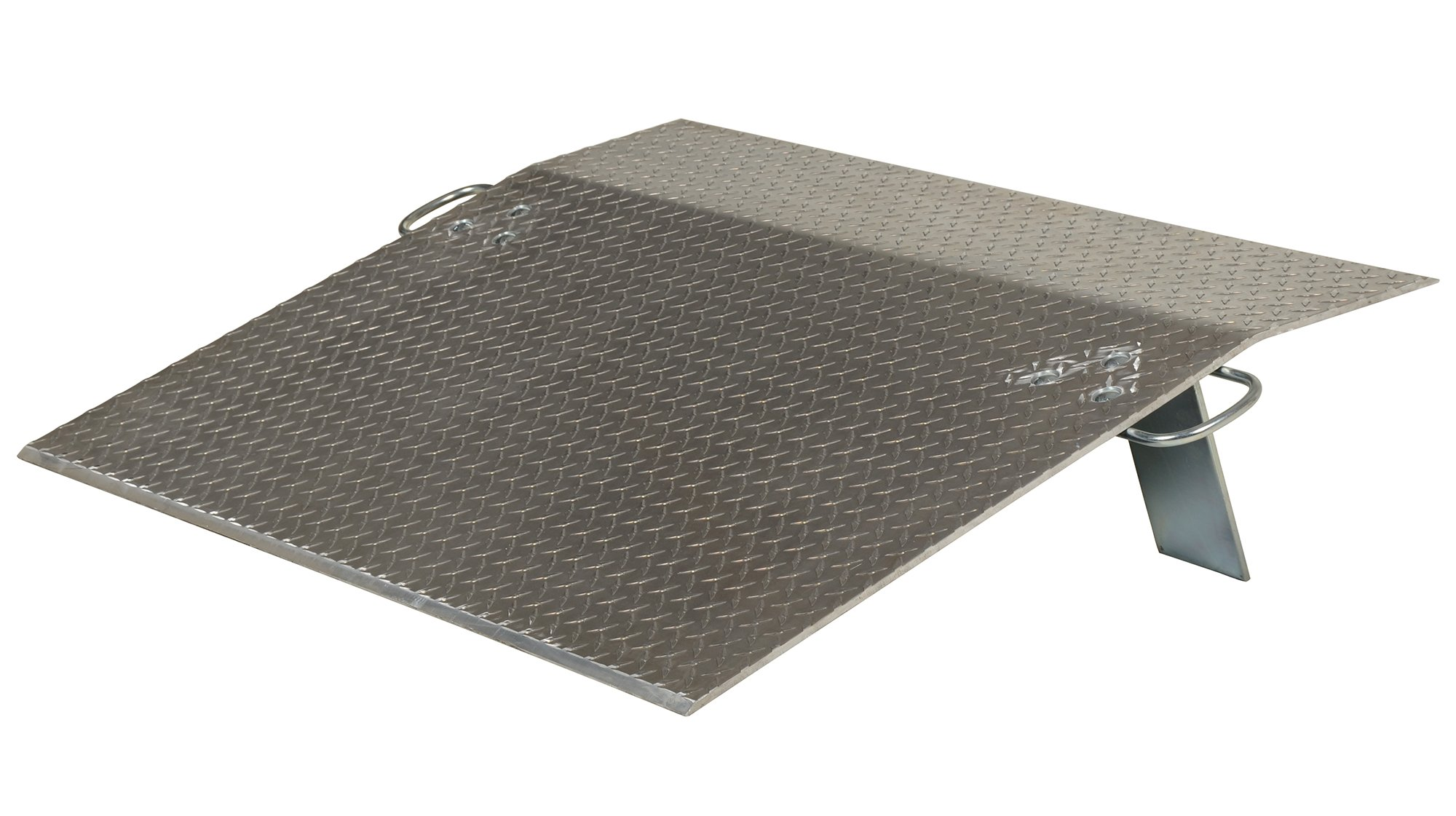 Vestil E-3048 Aluminum Economizer Dock Plate, 1,400-lb. Capacity, 48'' Length, 30'' Usable Width, 7'' Height Difference, 3/8'' Plate Thickness