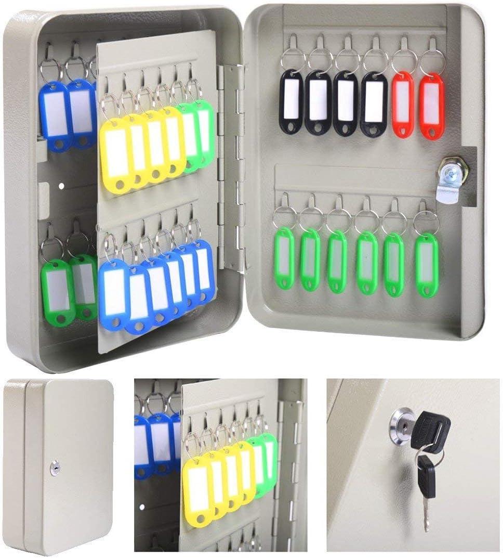 48 Hook Key holder Box Metal Safe w/Tag Case Cabinet Wall Mount Home Lock Storage Gray