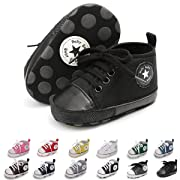 ENERCAKE Baby Boys Girls Canvas Shoes Basic Sneakers Lace Up Infant Newborn First Walker Prewalker Shoes(0-18 Months) (6-12 Months Infant, A-Black 2)