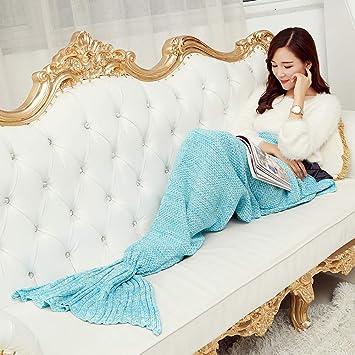 Manta de sirena invierno Saco dormir punto Cálido y acogedor Mermaid Tail Blanket Pattern Mujeres Moda