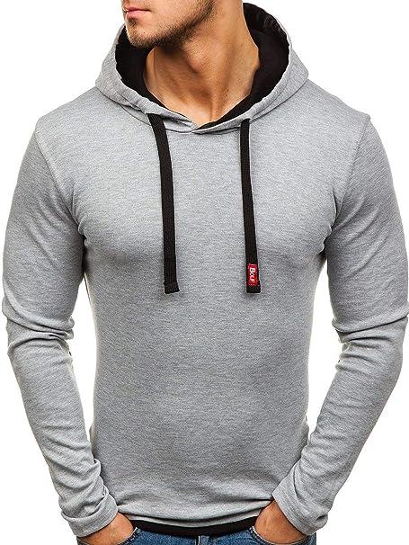 Sudadera con capucha BOLF para hombre, informal, básica, un solo color Gris gris X-Large: Amazon.es: Ropa y accesorios