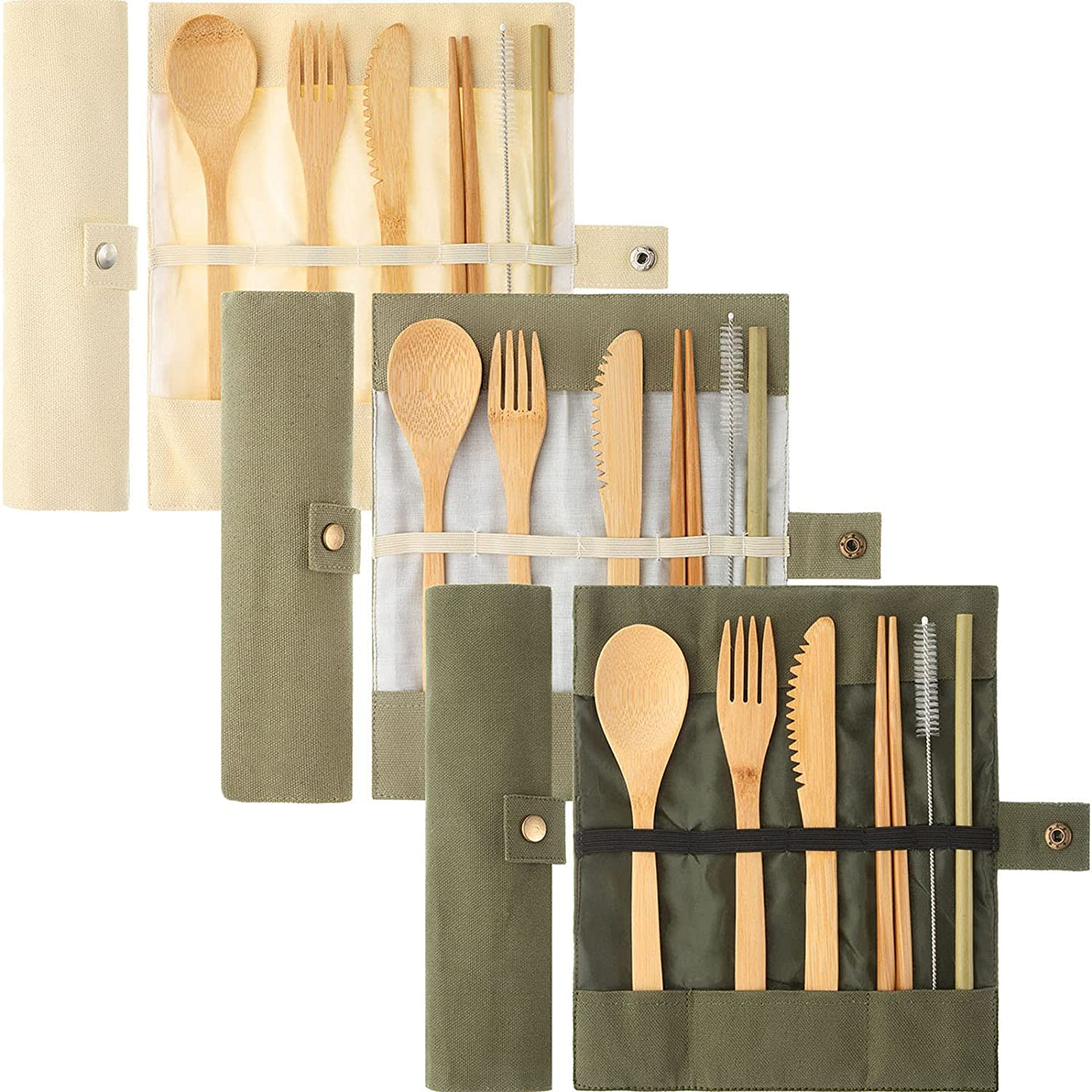 3 Set Bamboo Cutlery Set, Reusable Bamboo Utensil Include Knife, Fork, Spoon, Chopsticks, Reusable Straw for Travel Picnic Office School (White, Light Green and Dark Green)
