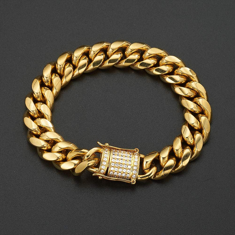 Aiyidi 12mm 14mm 18mm Mens Heavy Miami Curb Link Chain 18k Gold Plated Stainless Steel with CZ Diamond Necklace