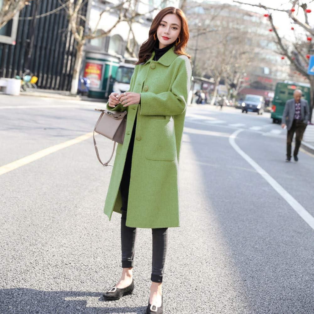 FSDFASS Cappotto Cappotto Autunno Inverno, Cappotto Moda Donna-Giacca Coreana Femminile- Giacca Lunga-Giacca a Vento per Donna Verde avocado