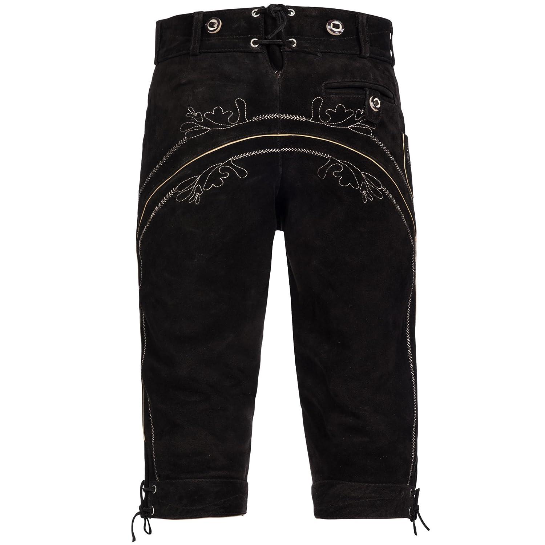 840f987b962eb Pantalon culotte courte Lederhose en cuir velours de vachette pour costume  folklorique Avec bretelles pour Homme  Amazon.fr  Vêtements et accessoires