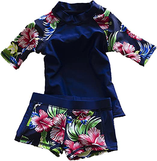 Baby Little Girl Swimwear Two Piece Tankini Swimsuit Rash Guard UPF 50 Size 3t