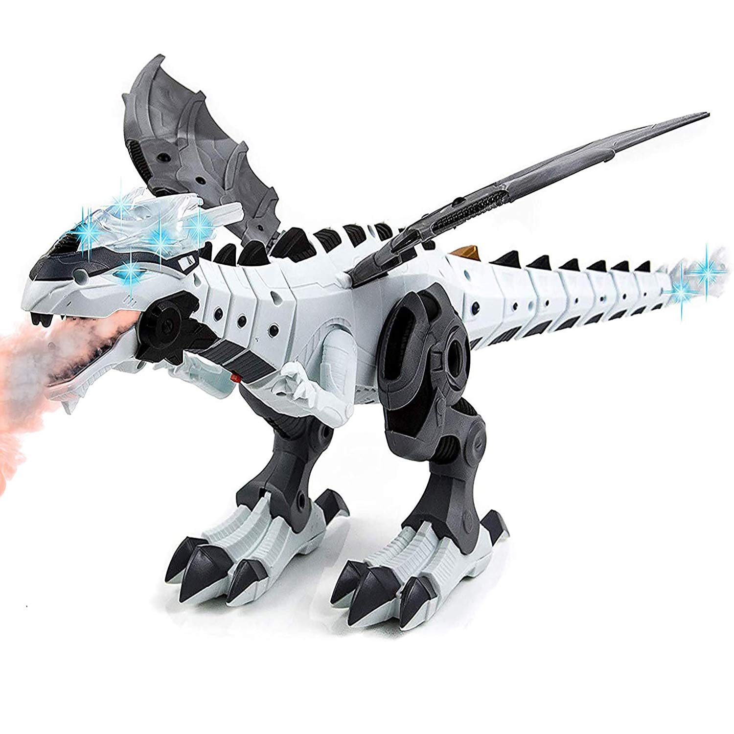 Toysery Walking Dinosaur Robot Toy for Kids - Mist Spray Dinosaur Toy Fire Breathing Water Spray Mist with Red Light & Realistic Sounds, Boys & Girls 3 -12 Years Old (Colors May Vary)