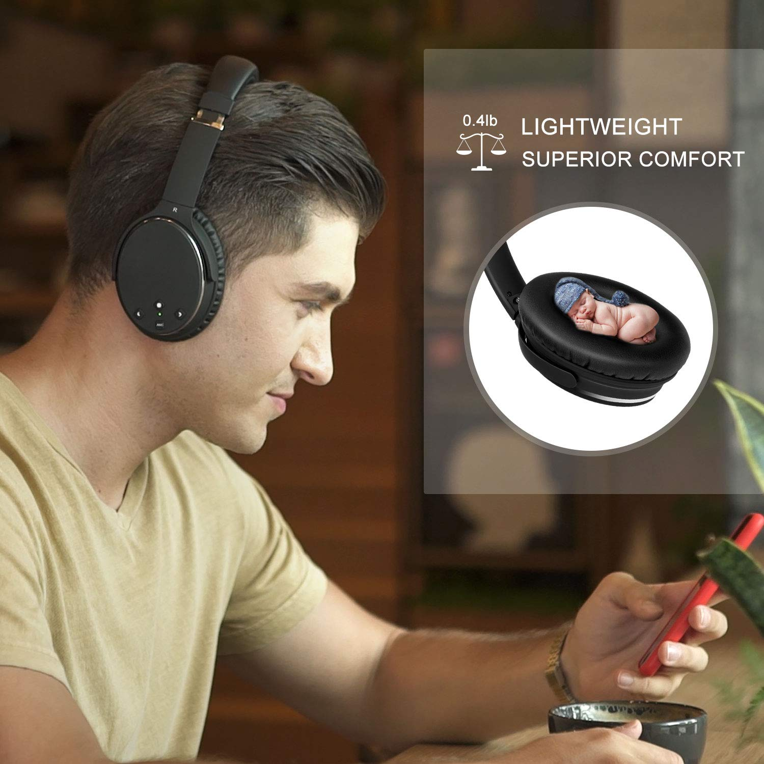 Noise Cancelling Headphones Real Over Ear,Wireless Lightweight Srhythm Durable Foldable Deep Bass Hi-Fi Stereo Bluetooth Headset with Mic and Wire for TV, PC, Cell Phone – Low Latency