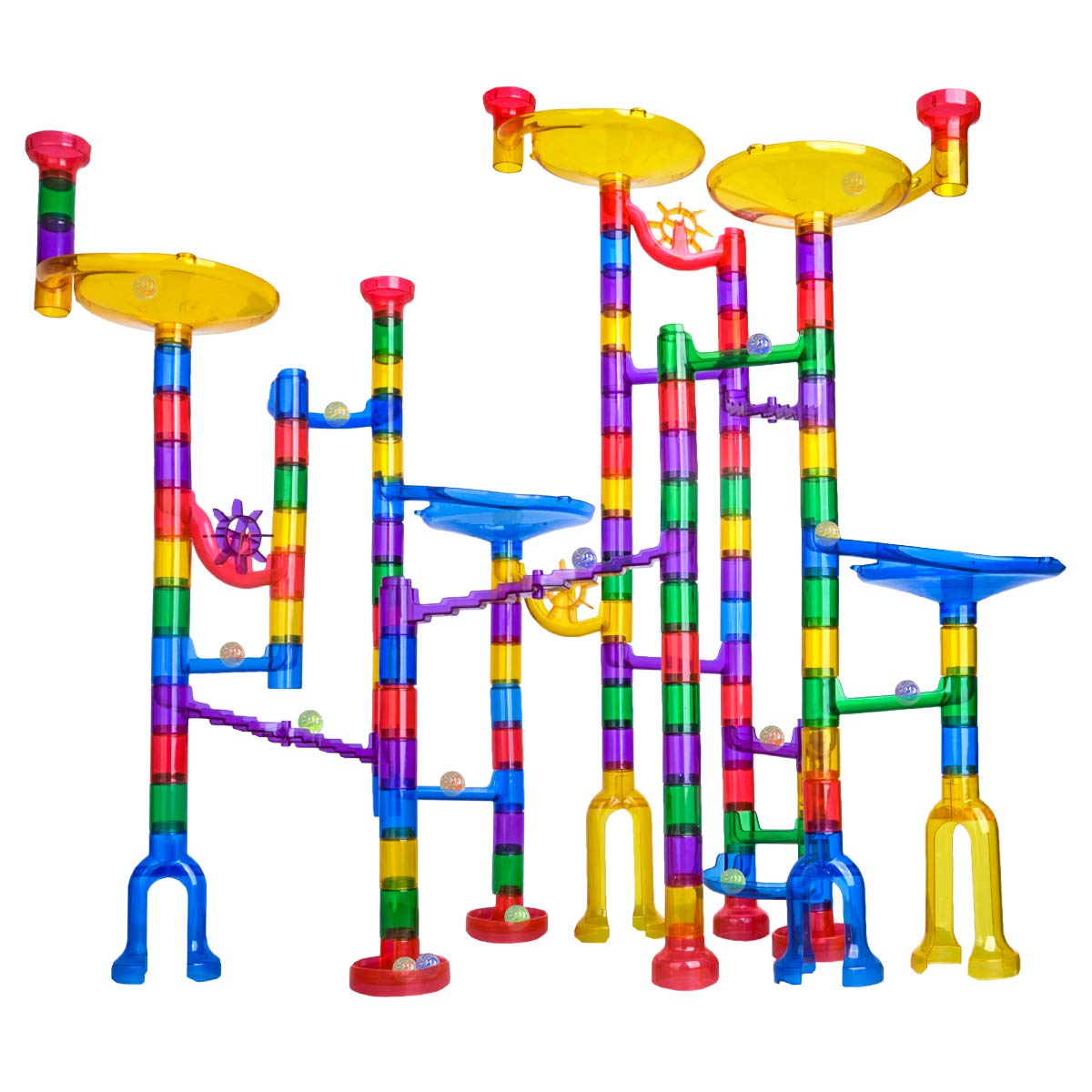 Colourful and tall marble run set up