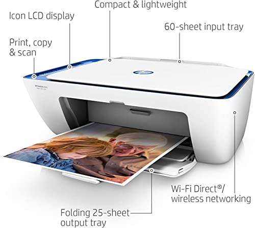 HP DeskJet 2655 All-in-One Compact Printer, HP Instant Ink, Works with Alexa – Noble Blue V1N01A