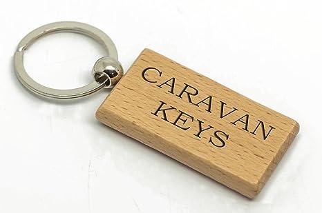 Personalizado Rectángulo caravana llaves llavero de madera ...