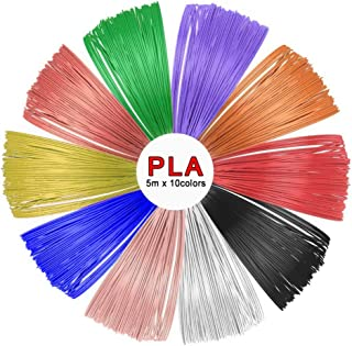 SUNLU PLA 3D Pen Filament Refills(10 Colors, 16.5 Feet Each),SUNLU 1.75mm PLA 3D Printing Pen Filament, Free Stencils Ebook / 5Meters Each Color, Total 50 Meters