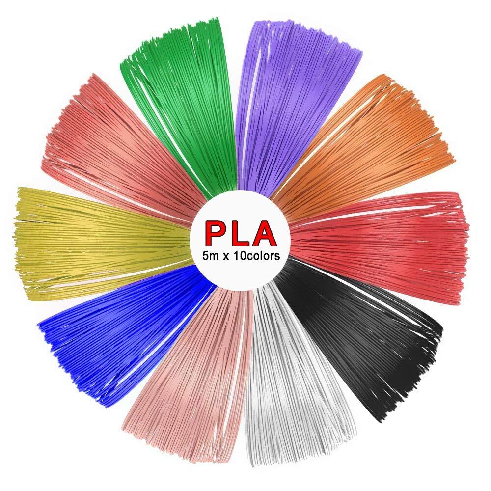 SUNLU PLA 3D Pen Filament Refills(10 Colors, 16.5 Feet Each),SUNLU 1.75mm PLA 3D Printing Pen Filament, Free Stencils Ebook / 5Meters Each Color, Total 50 Meters SUNLUGW