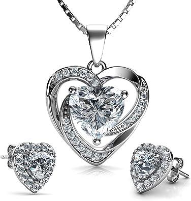 DEPHINI Jewellery set Purple Heart Necklace CZ /& Earrings 925 Sterling Silver
