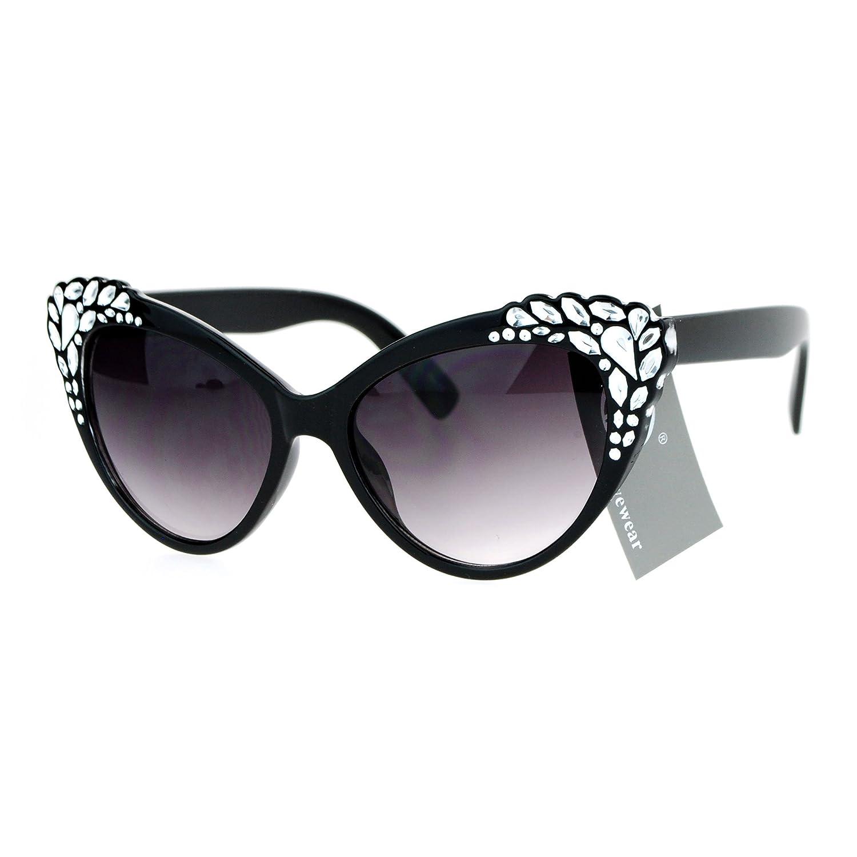4a2d3e48570 Amazon.com  SA106 Womens Rhinestone Iced Out Bling Cat Eye Fashion  Sunglasses Black  Clothing