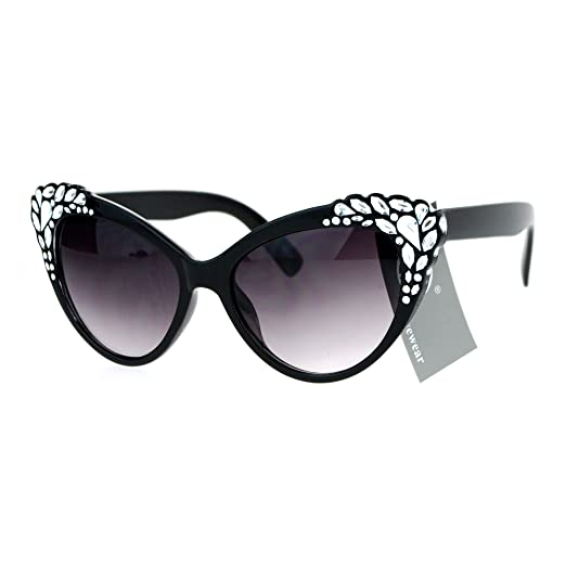 33962b31c64f9 SA106 Womens Rhinestone Iced Out Bling Cat Eye Fashion Sunglasses Black