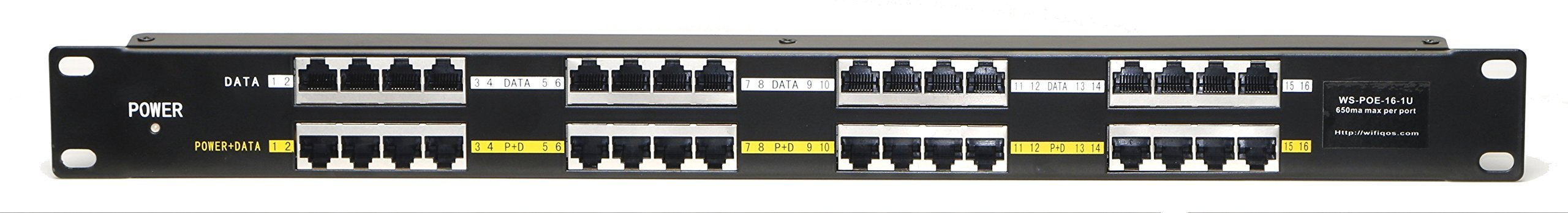 WS-POE-16-1U passive PoE - 16 Port Power over Ethernet Injector - Rack Mount, power supply available separately