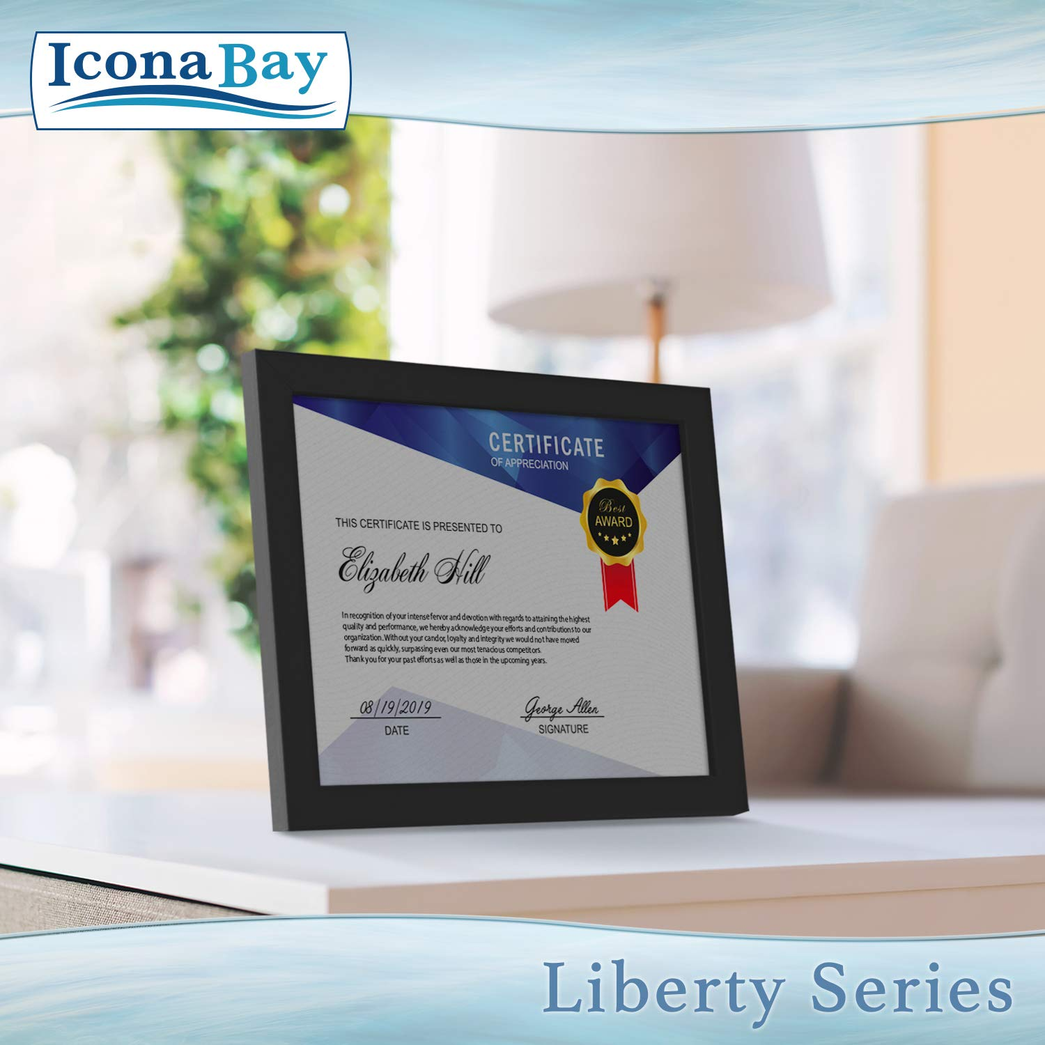 Icona Bay 8.5x11 Diploma Frame (12 Pack, Black), Black Sturdy Wood Composite Certificate Frame, Document Frame Bulk, Wall or Table Mount, Set of 12 Exclusives Collection by Icona Bay (Image #4)