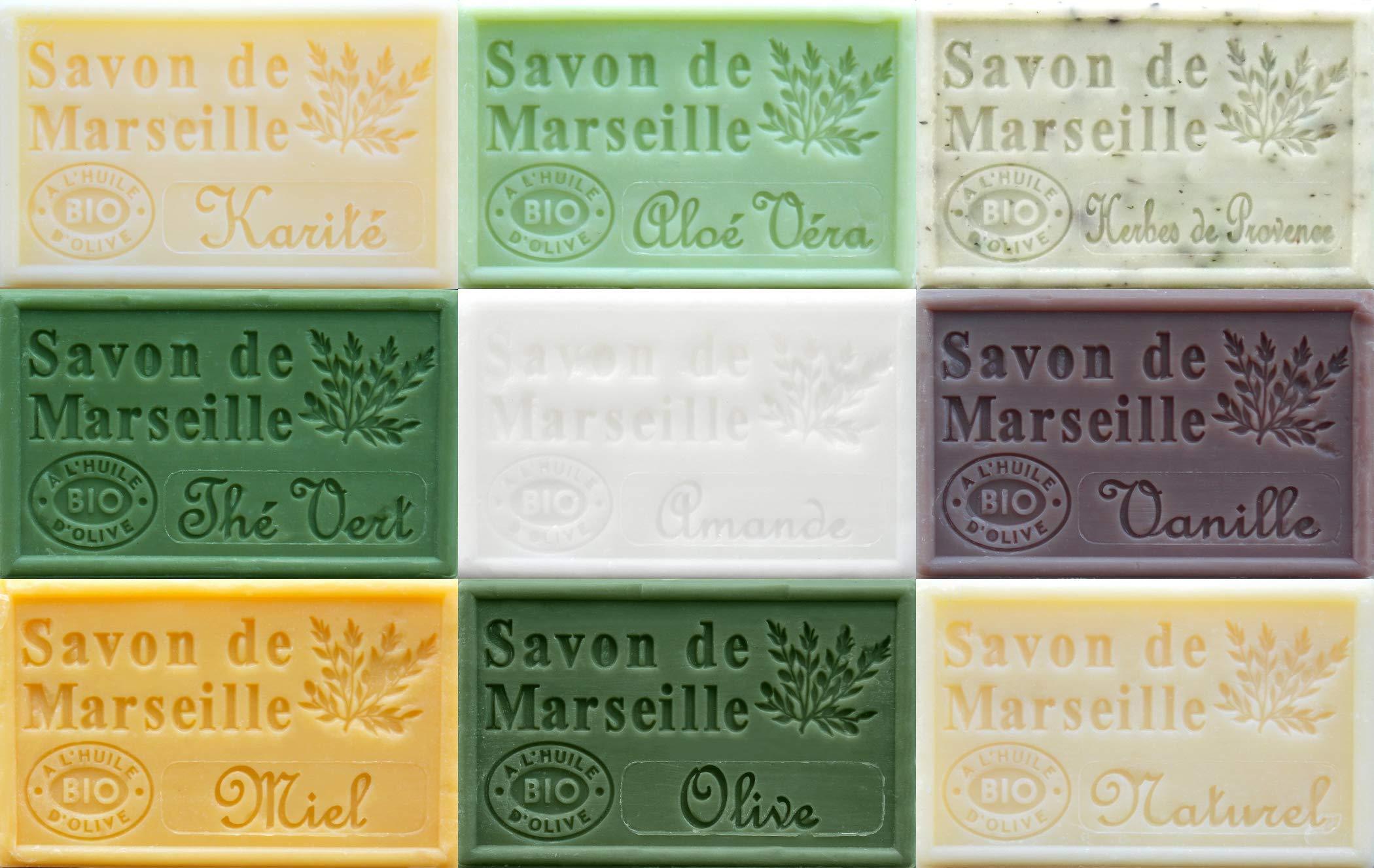Savon de Marseille French Soaps, Boxed Set of 9 x 125g Soap Bars (Neutral Fragrances), Vegetable Soap, Plastic Free