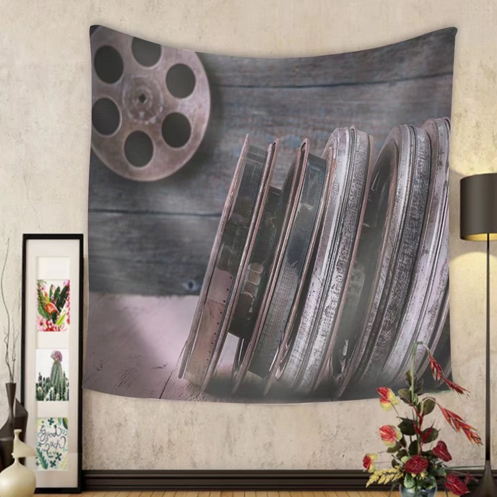 Niasjnfu Chen Custom tapestry Stack of reels of old movies is on a wooden shelf - Fabric Wall Tapestry Home Decor