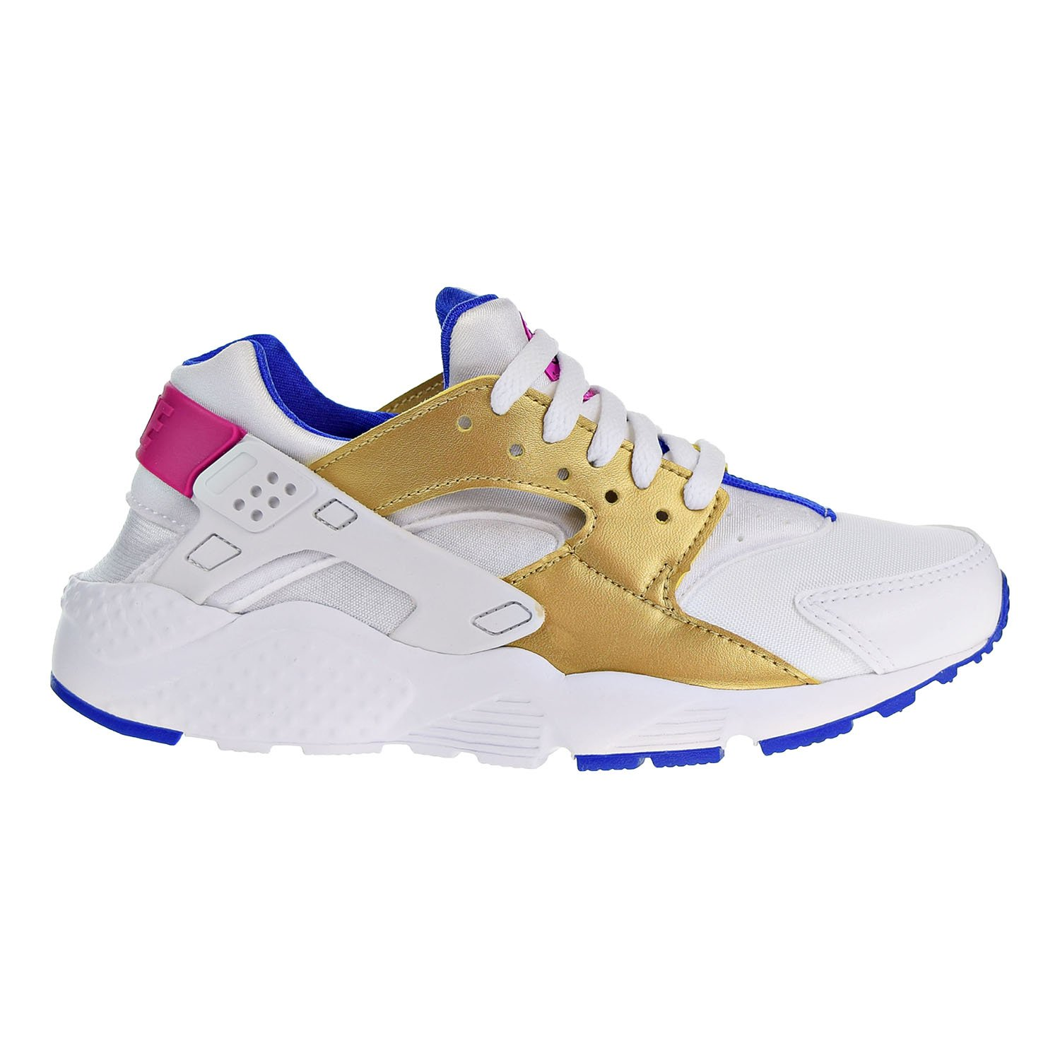 check out 4ac25 ac742 Galleon - NIKE Huarache Run (GS) Big Kids Shoes White Metallic Gold Racer  Blue 654280-109 (5 M US)