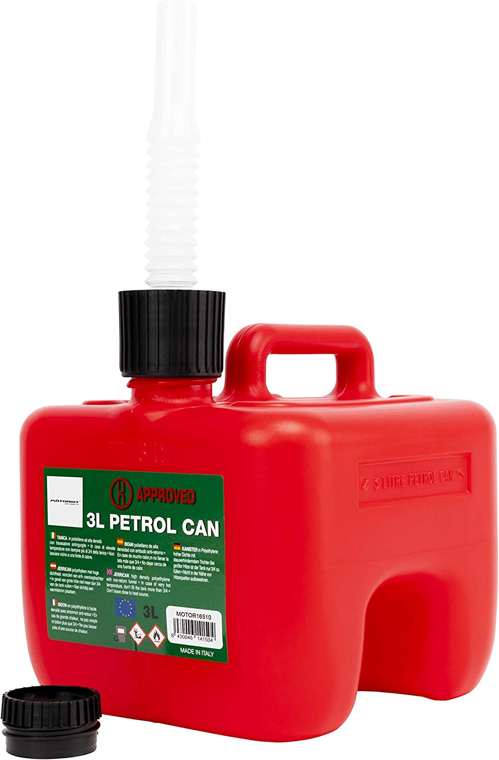 with Easy-to-Read Measuring Strip Includes Funnel MOTORKIT MOTOR16511 5L Fuel Can Petrol//Diesel Approved