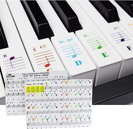 Mengger Pegatinas piano teclados etiquetas clave teclados Etiqueta engomada 2 pcs transparentes removibles Pegatina Teclado Electrónico para ...