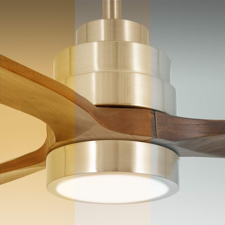 IKOHS WINDLIGHT Nickel - Ceiling Fan 40W DC Reverse Dark Wood