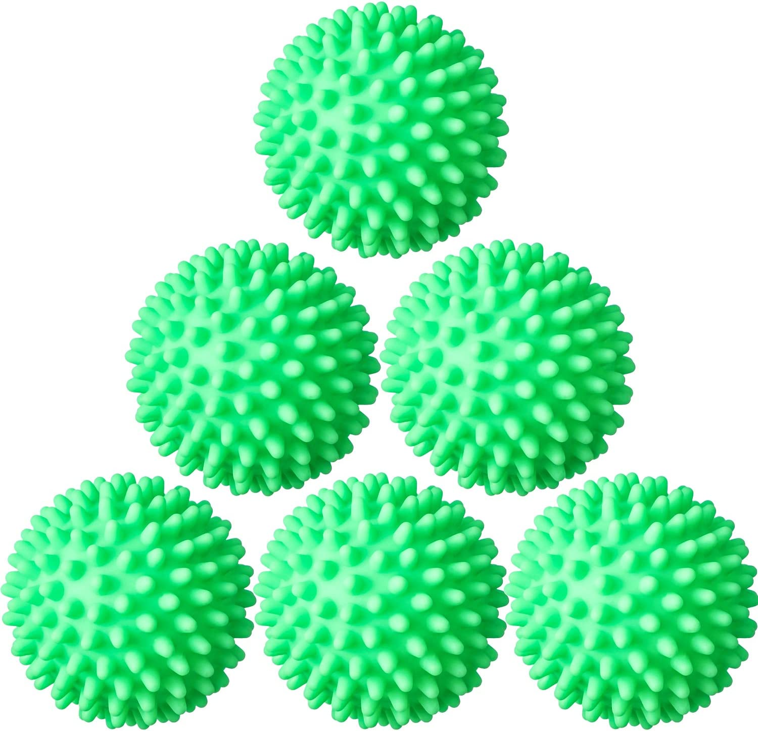 6 Pieces Laundry Drying Balls, Reusable Dryer Balls, Replace Laundry Drying Fabric Softener and Saves, Reusable Washing Machine Dryer Cleaning Soften Clothes Wash Ball (Green)
