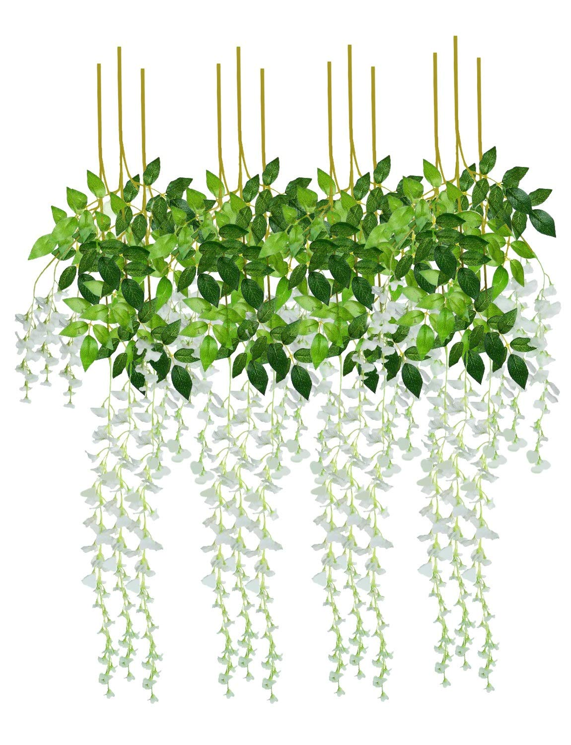 BTSD-home Artificial Fake Wisteria Vine Garland Silk Wisteria Vine Ratta Hanging Flowers for Home Garden Party Wall Wedding Decor, 12 Pieces