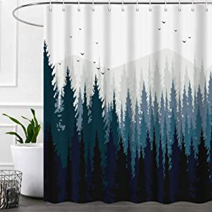 Rustic Forest Shower Curtains for Bathroom, Nature Mountain Tree Cool Fabric Shower Curtain Set, Cabin Camper Bathroom Accessories Decor, Hooks Included (72W X 72H)