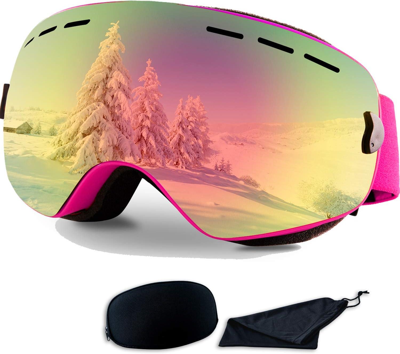Rongbenyuan Ski Snow Snowboard Goggles – OTG Goggles Men Women Kids Anti-Fog UV400 Protection