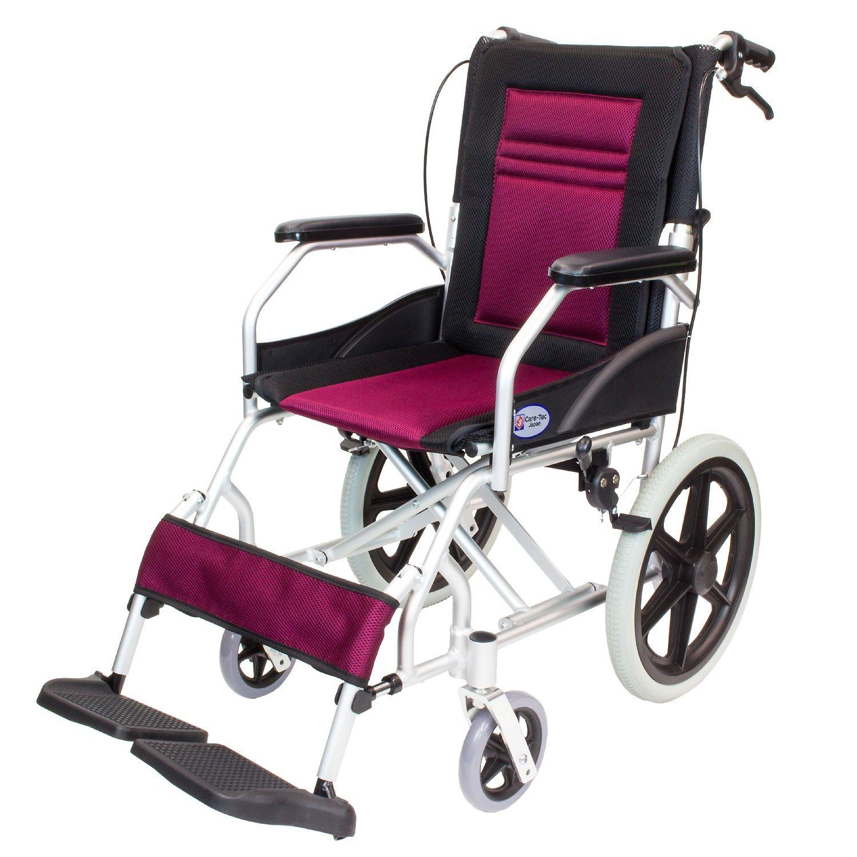 ケアテックジャパン 介助式車椅子 CA-22SU ハピネスライト -介助式- (ワインレッド) B01NC02Z1P  ワインレッド