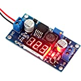 DROK® LM2577 Boost Converter DC 3-34V to 4-35V 5V/12V Adjustable Step Up Volt Regulator with Red LED Voltmeter Voltage Monitor Power Supply Module